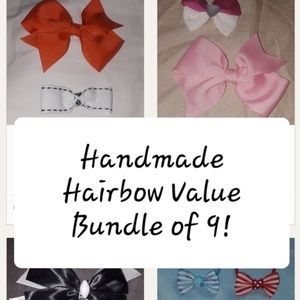 Handmade Hairbow Bundle Barrette 4 Clip 4 Ponytail